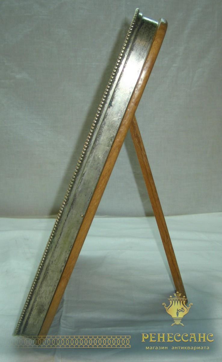 Старинное настольное зеркало А. Кач, серебрение 19 век №745