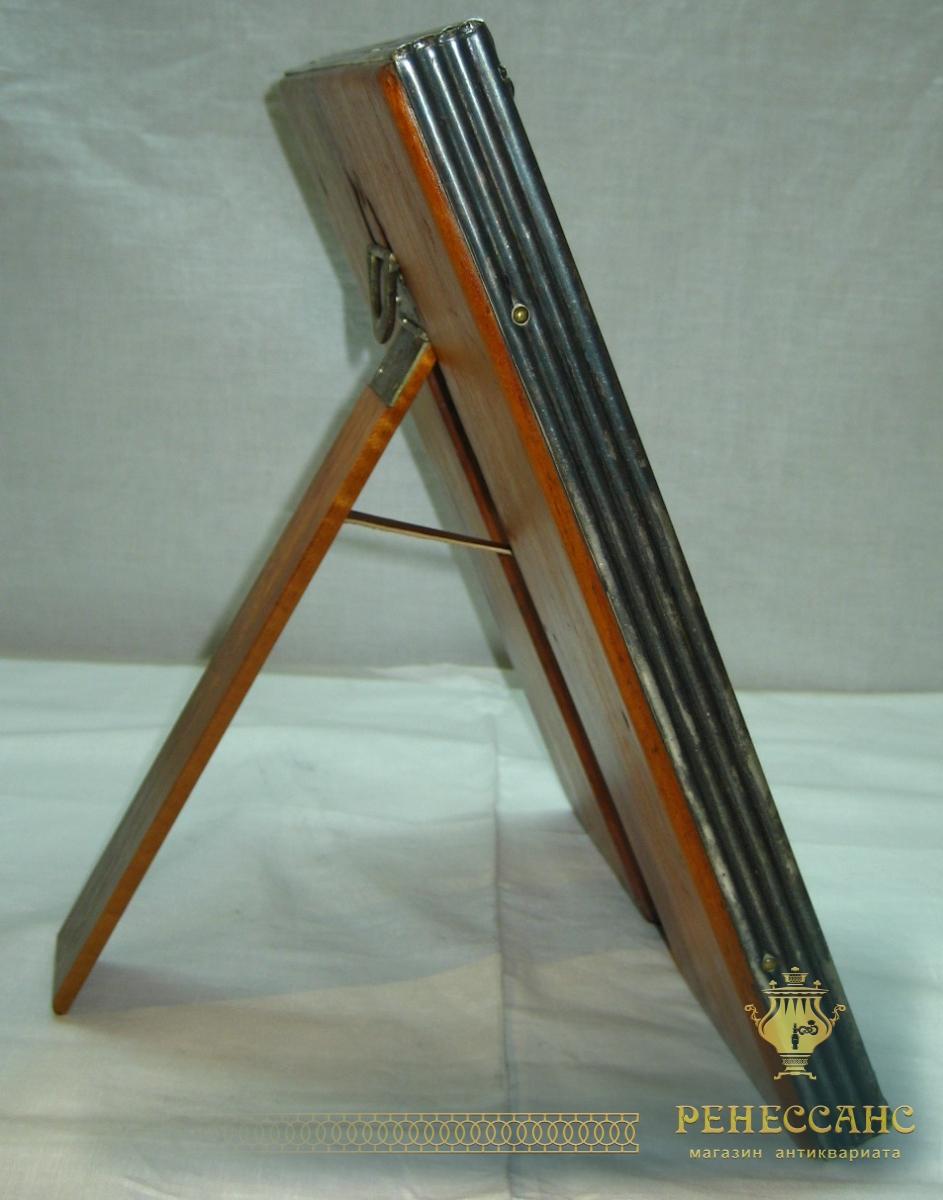 Зеркало настольное, на ножке, серебрение, Br. Henneberg Варшава 19 век №743