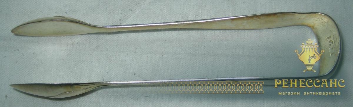 Щипцы для сахара, серебрение, Br. Buch Варшава 19 век №716