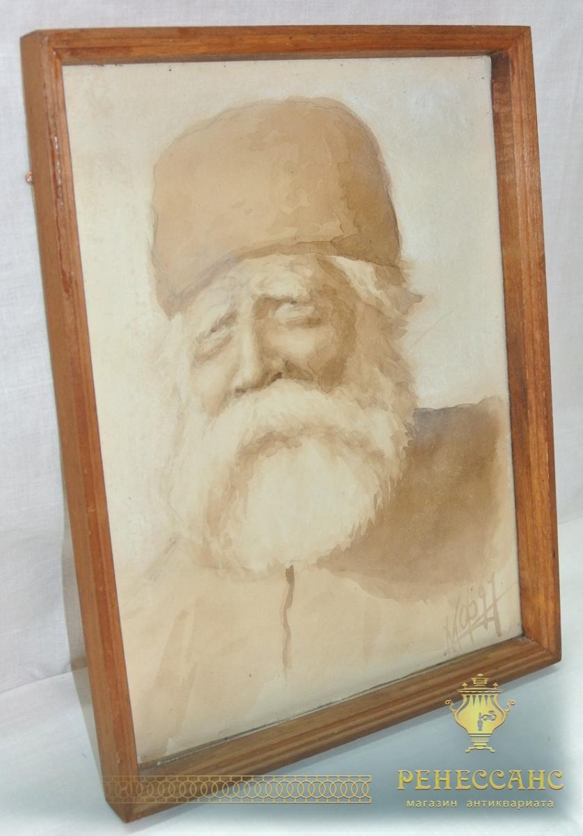 Картина старинная, портрет «Старик», акварель №3691