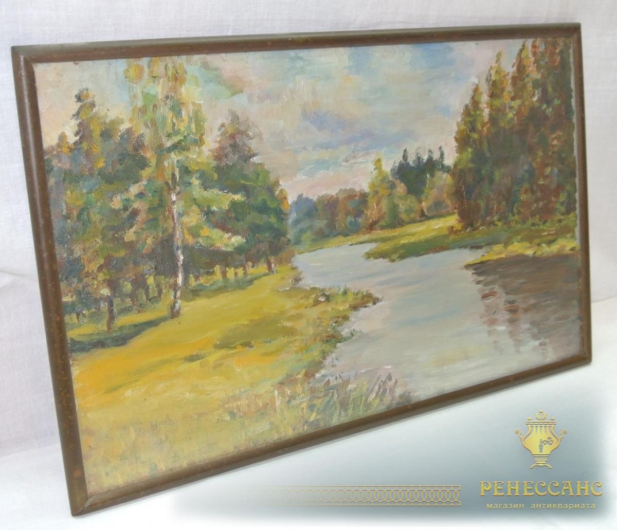 Картина старинная «Лесной пейзаж» акварель, начало 20 века №3692