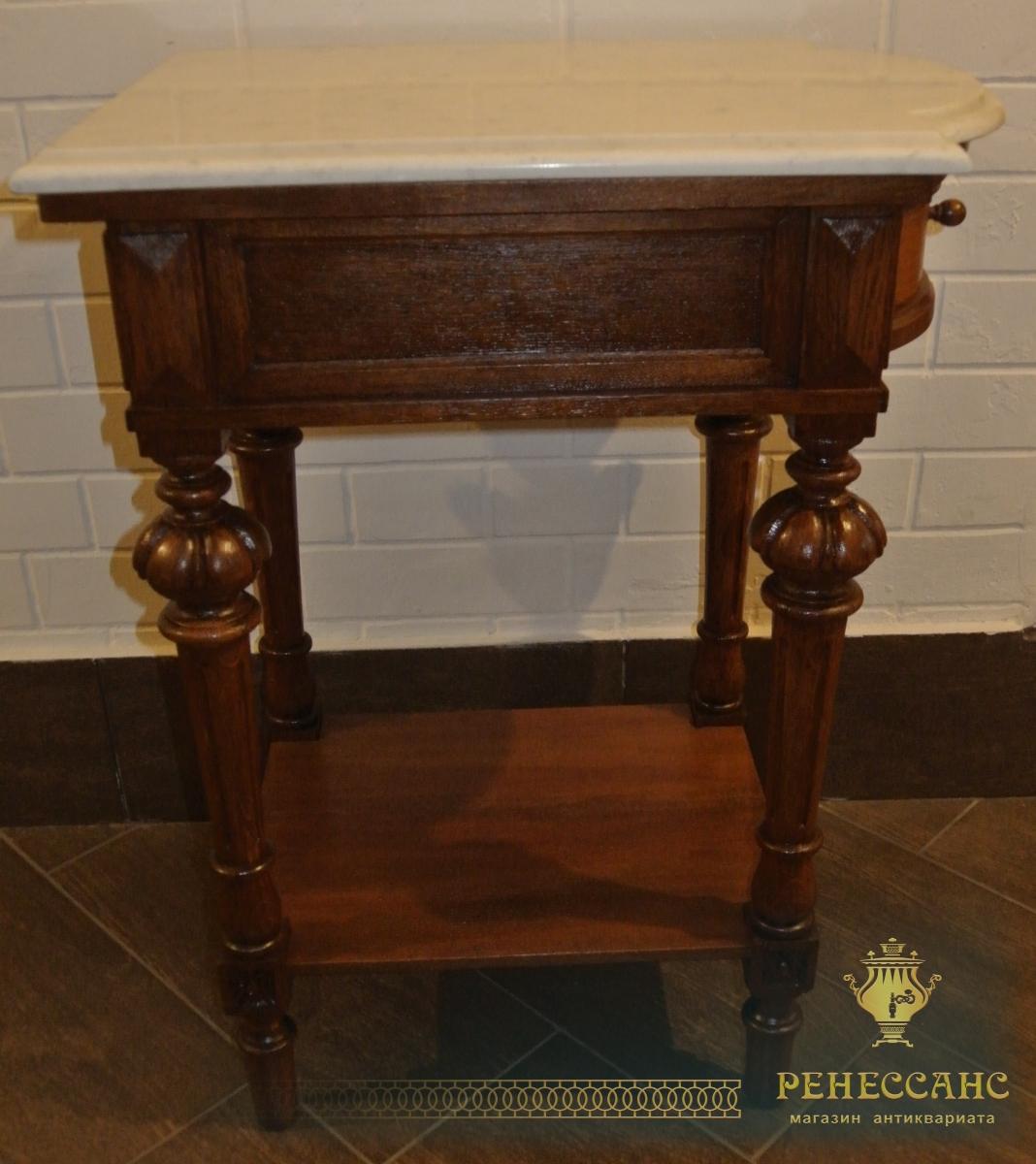Стол под самовар старинный с ящиком, дуб, мрамор №3891
