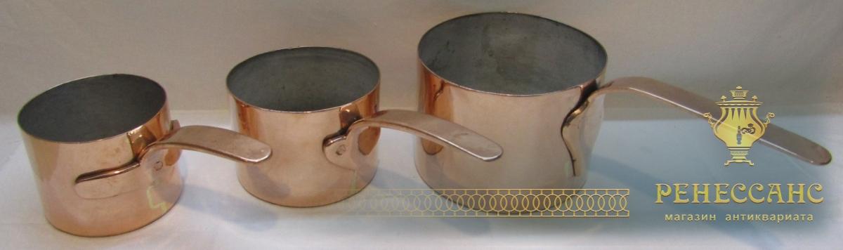 Ковш старинный из меди, 3 штуки, Россия 19 век №4066
