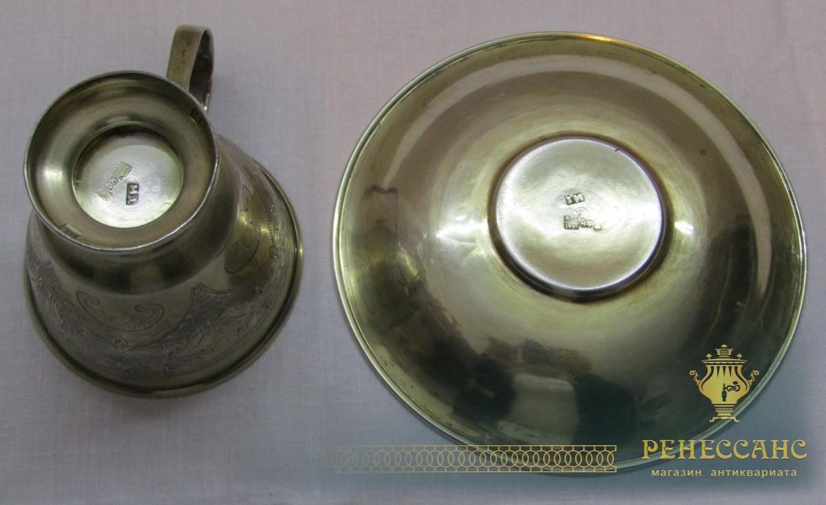 Кофейная пара старинная из серебра 84 пр, модерн 1875 год №4300