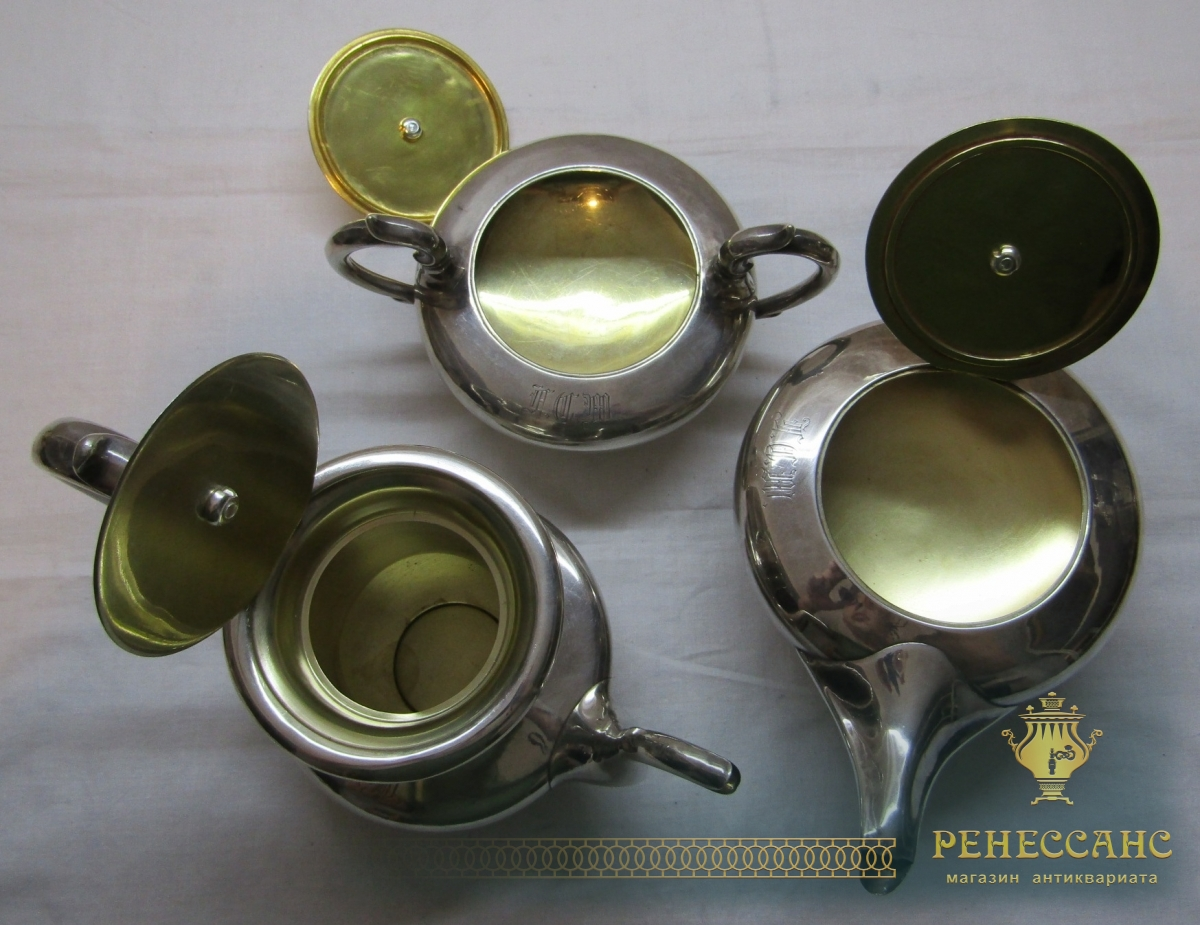 Чайник, кофейник и сахарница «Пец» Россия 19 век №4541