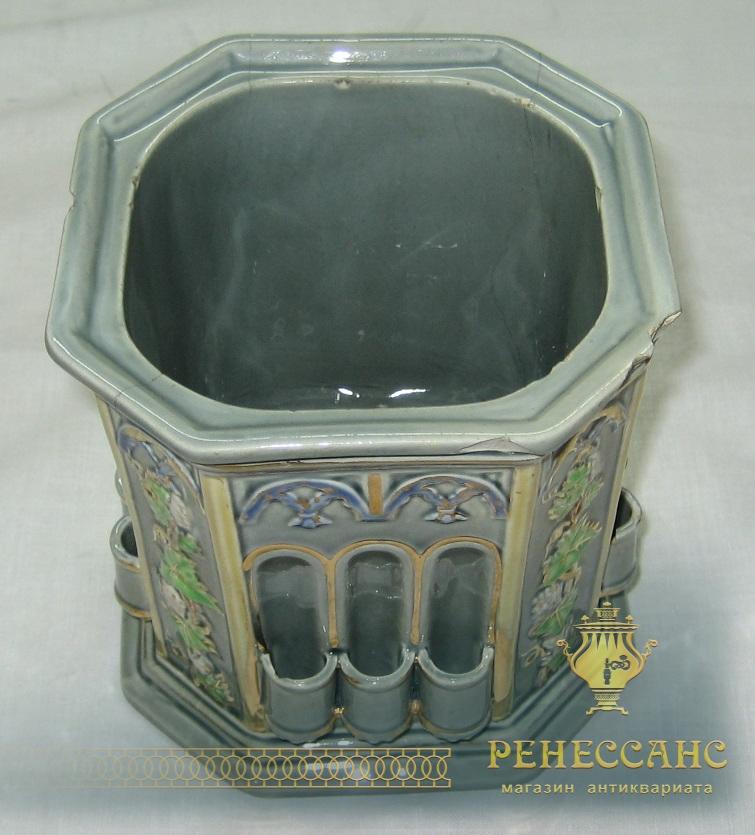 Кашпо, ваза старинная, М.С. Кузнецов 19 век №1040