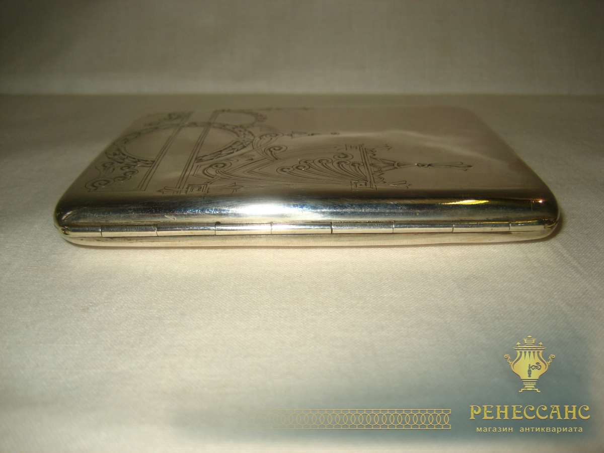 Портсигар старинный, серебро 84 пробы, Россия 19 век №428