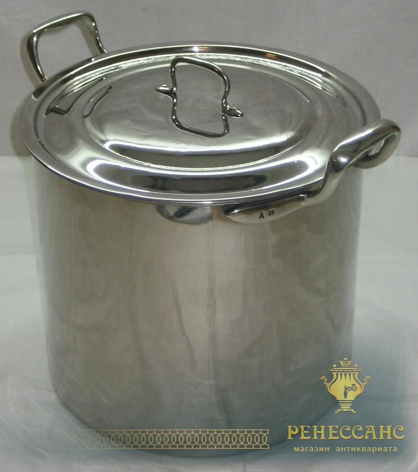 Кастрюля из никеля на 10 литров производство «Reinnickel» Германия начало 20 века №1050