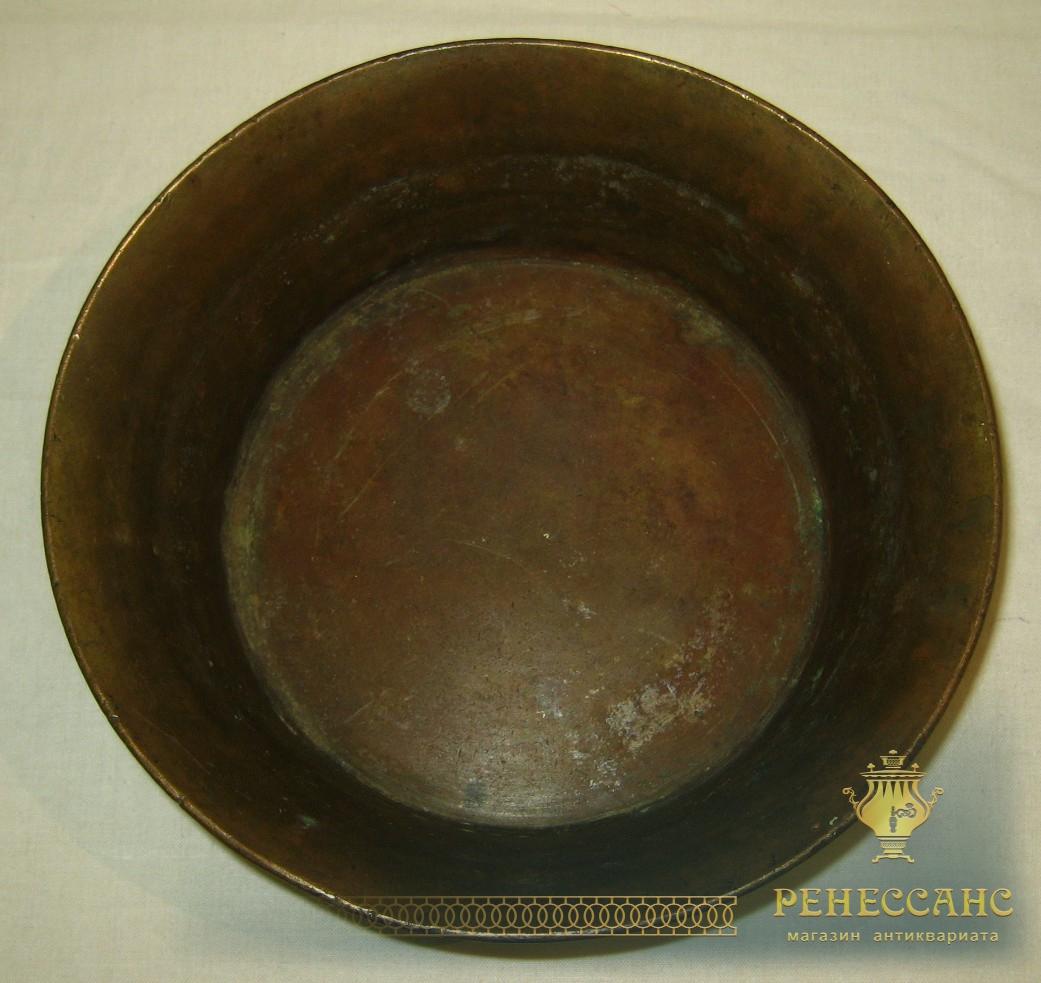 Полоскательица к самовару, миска, тяжелая, из латуни №338