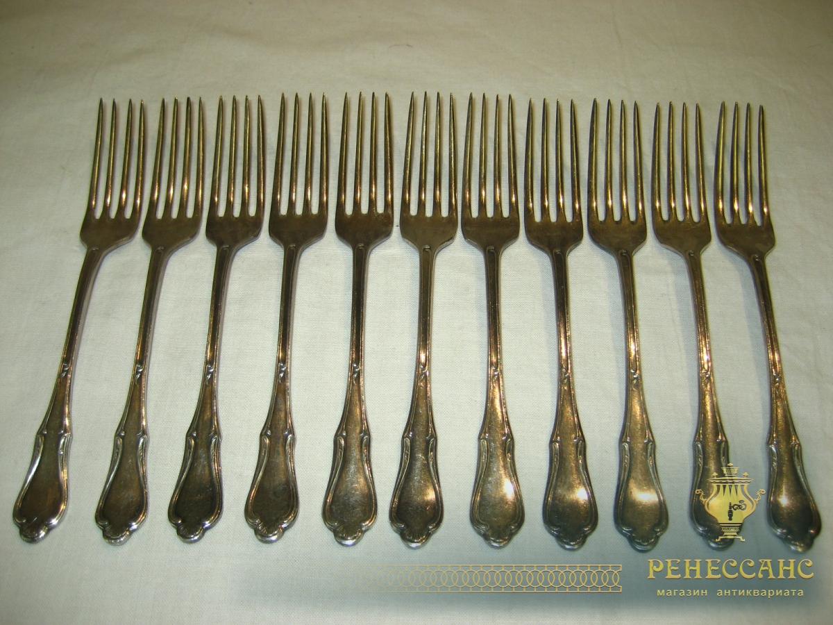 Вилки закусочные, серебрение, 11 штук, Art. Krupp Австрия 19 век №307