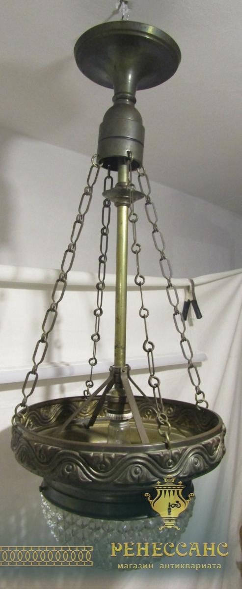 Люстра старинная, латунь, хрусталь №5008
