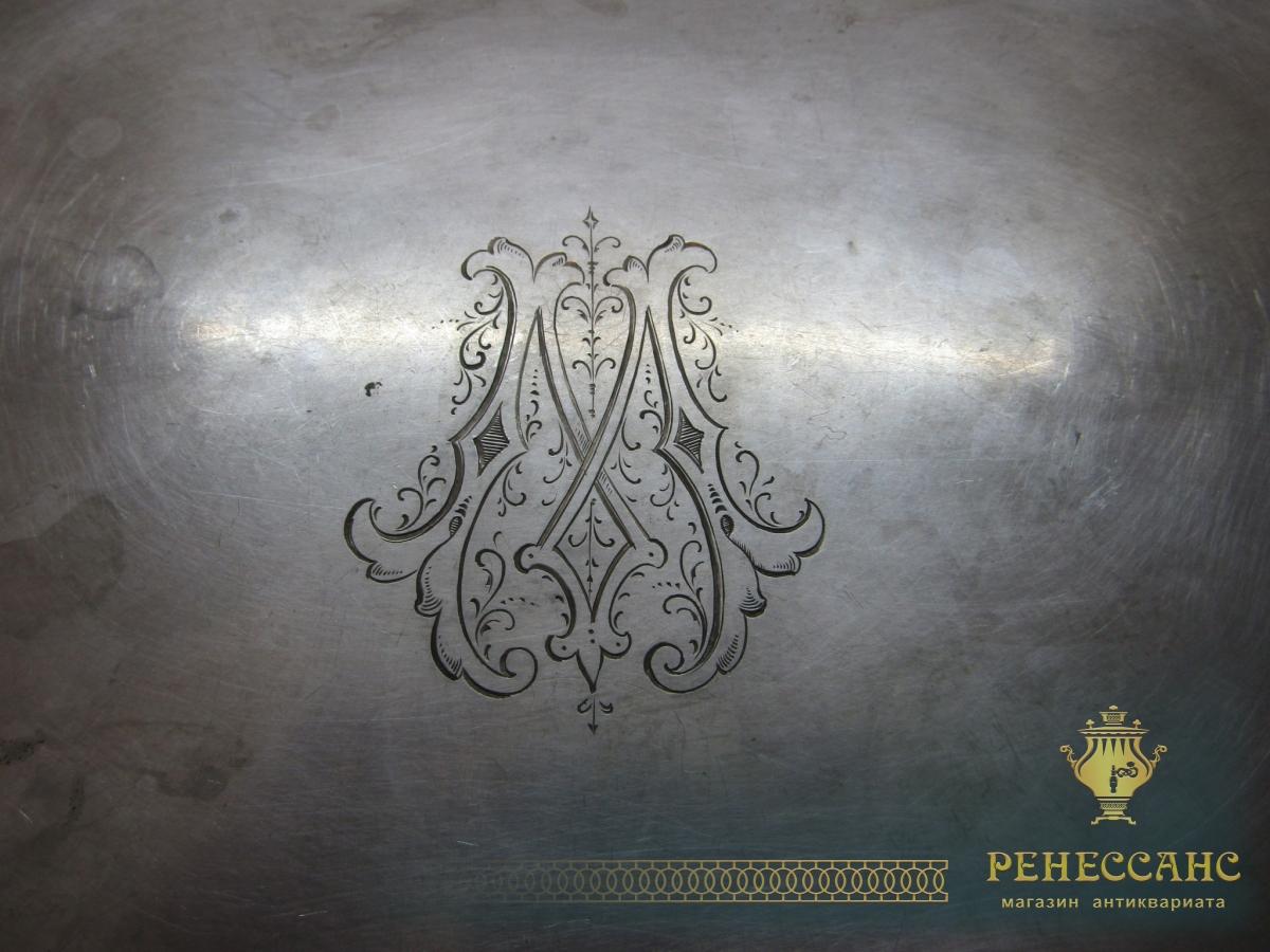 Поднос старинный прямоугольный «Геннигер» 19 век №5019