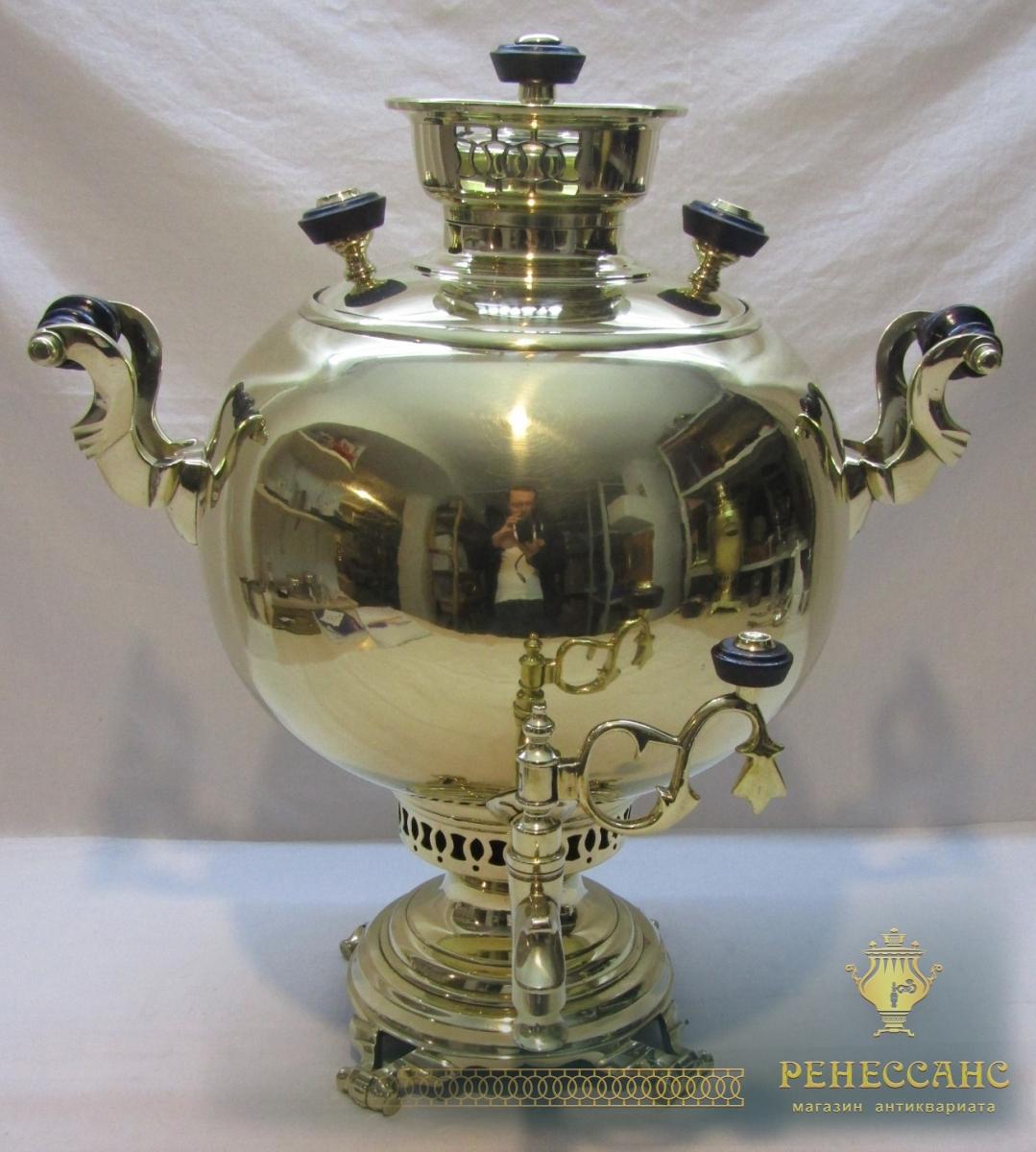 Самовар старинный угольный «шар», с набором, «Бр. Воронцов» 19 век №1104