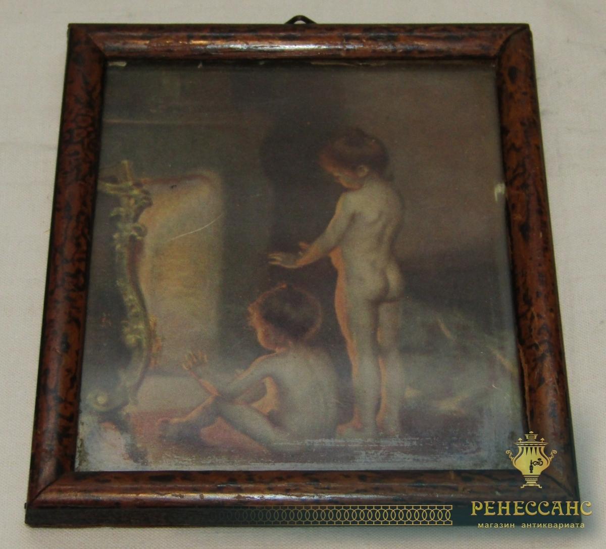 Рамка с рисунком, миниатюра, фоторамка старинная №5887