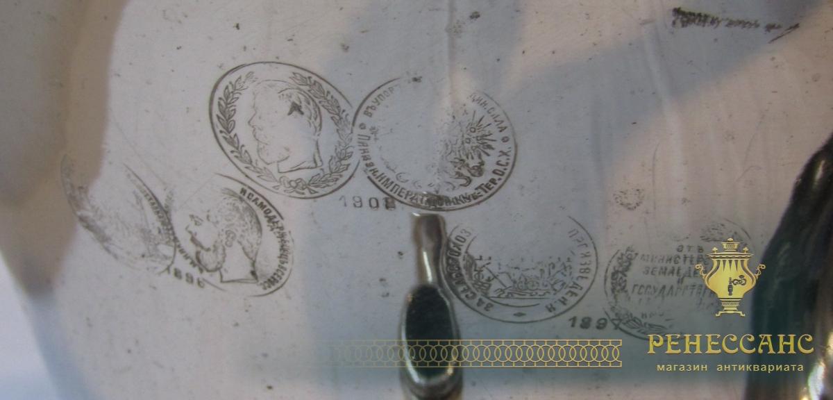 Самовар старинный на дровах «рюмка», с медалями, на 4 л, «Н.А. Воронцов» 19 век №1217