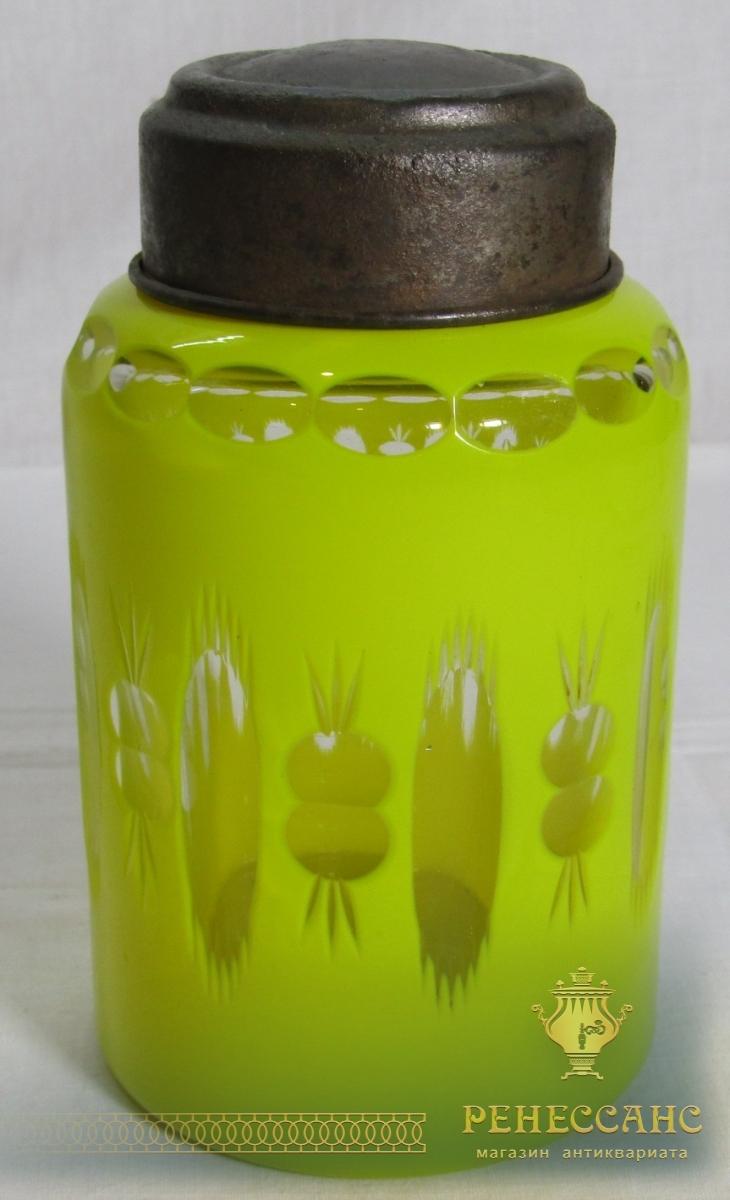 Чайница старинная, стекло, 19-20 век №6354