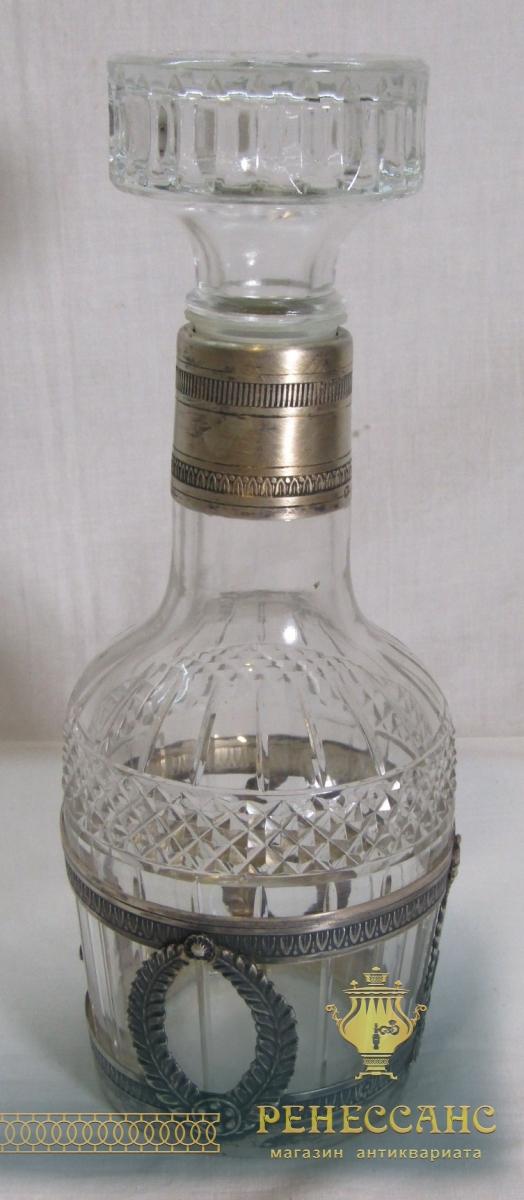 Графин старинный, хрусталь, серебро 950 пр, Франция 19-20 век №6413