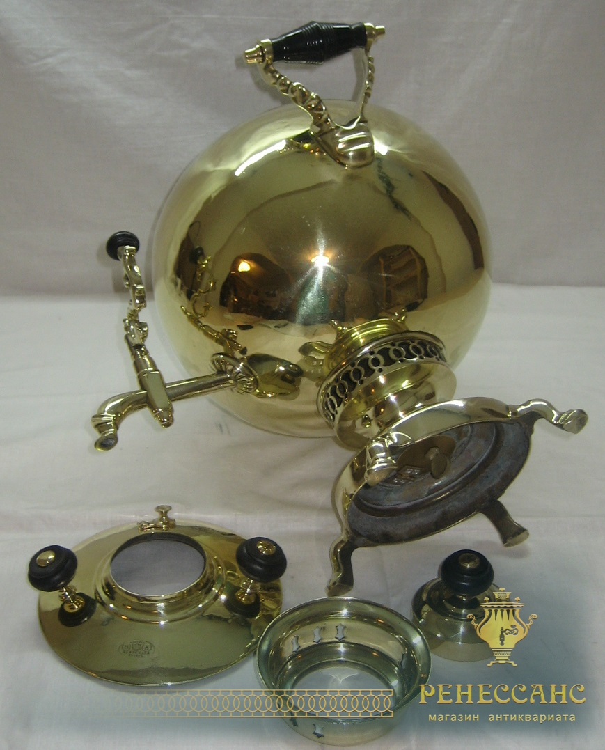 Старинный угольный самовар «шар», латунный, на 6 литров, Воронцов №373