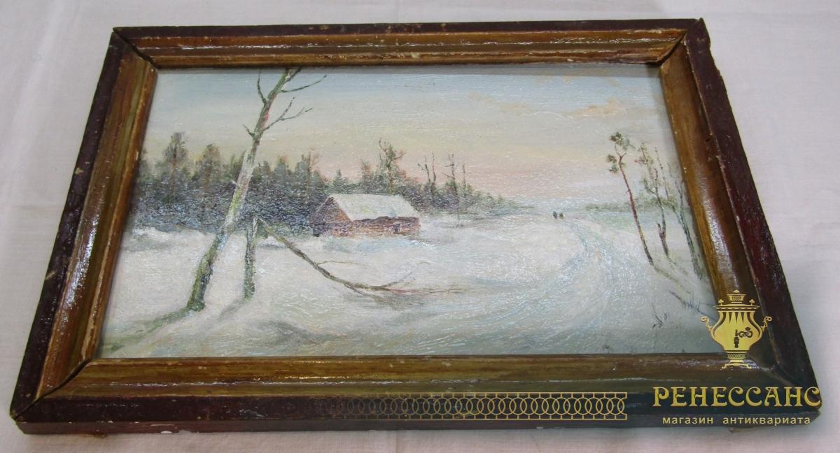 Картина «Зима» картон, масло, «Витковский» СССР №7265