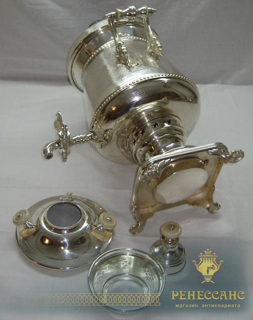 Самовар «пушка» с набором, серебрение, Варшава 19 век №461