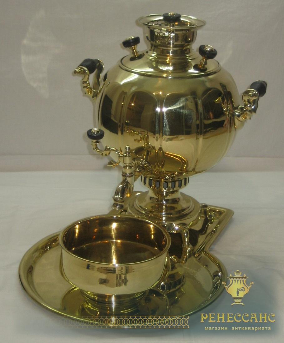 Самовар старинный «шар» гранный, в наборе, на 3 литра, Воронцов №467