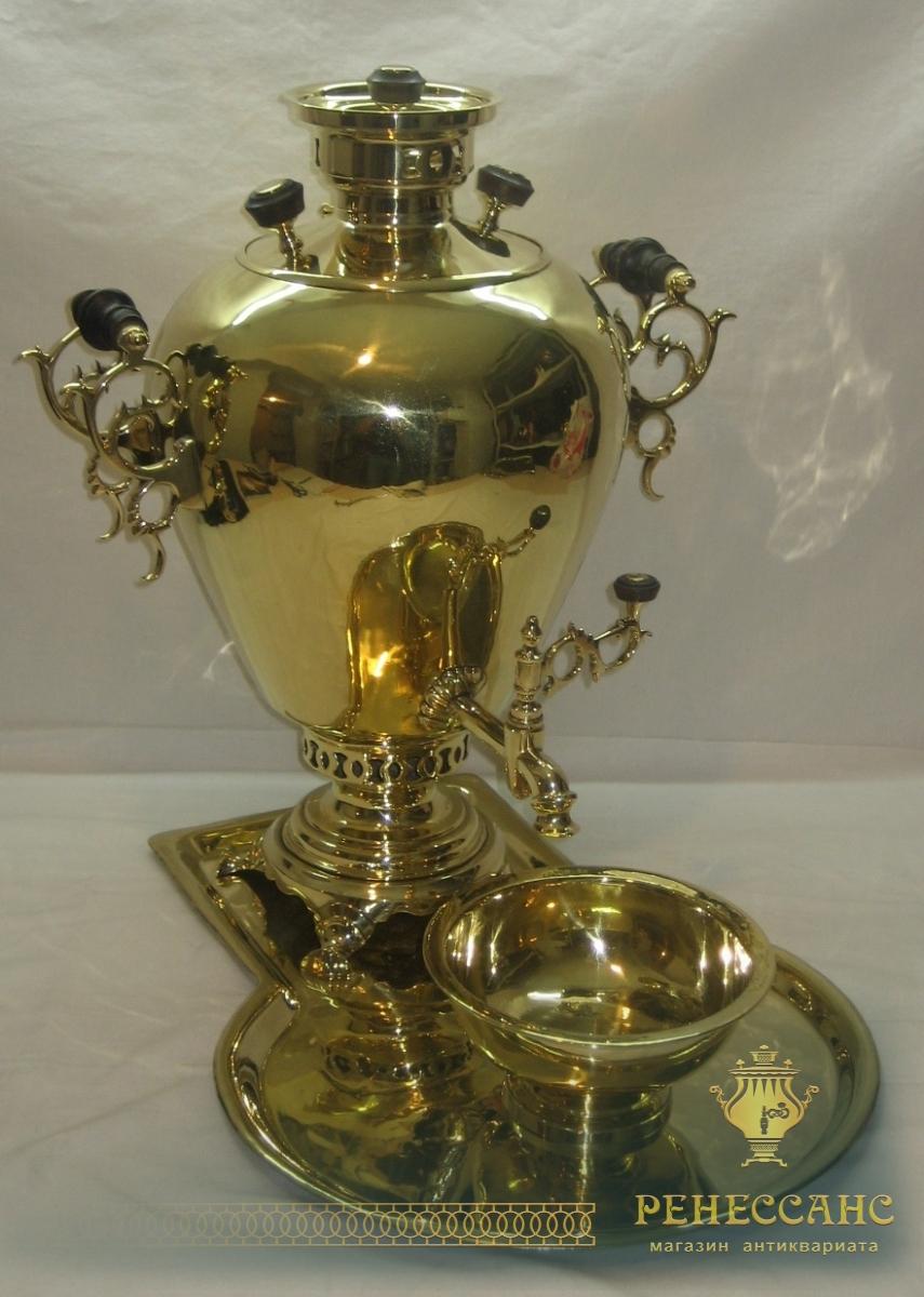 Самовар в форме «яйцо» на 7 литров, в наборе, Слиозберг №468