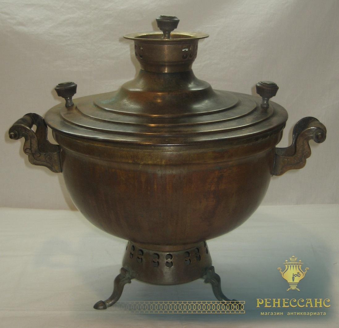 Самовар-кухня старинный, латунь, красивая патина, Россия 19 век №479