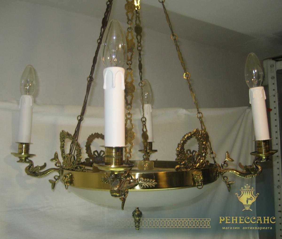 Люстра в стиле ампир, красивая, латунная №1559