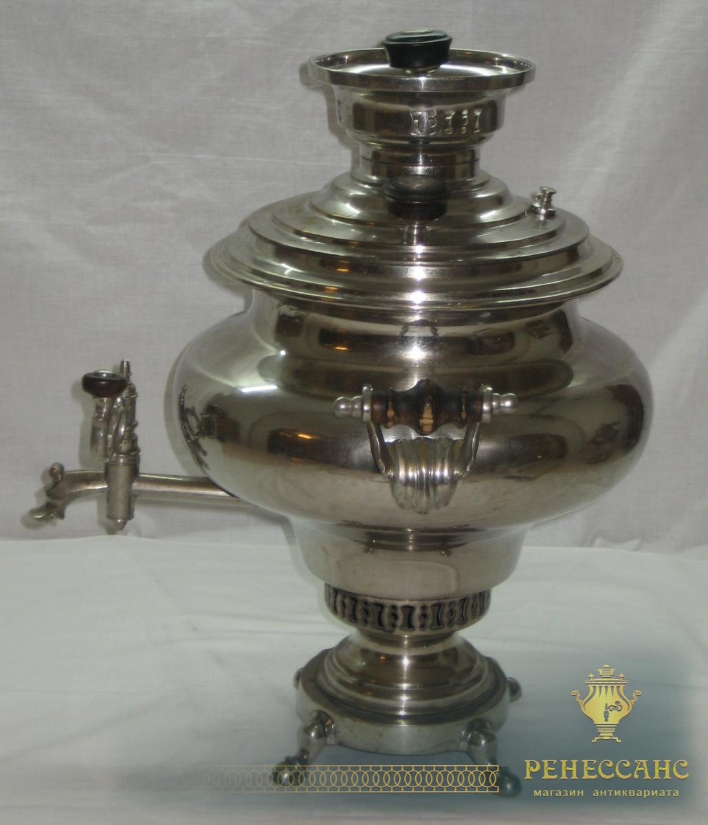 Угольный самовар «ваза» Аленчиков и Зимин в никеле на 4,5 литра №402