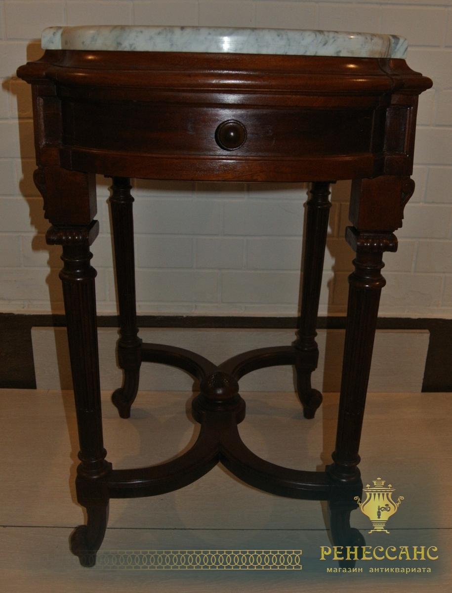 Стол самоварный старинный, орех, мрамор, Россия 19 век №1604