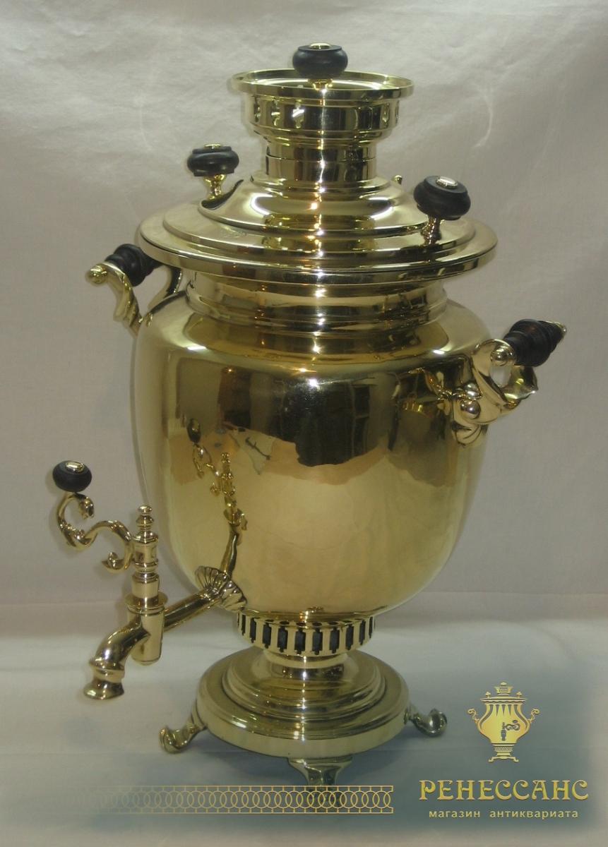 Самовар старинный «ваза», самовар на дровах, 6 литров, «Аленчиковъ и Зиминъ» №501