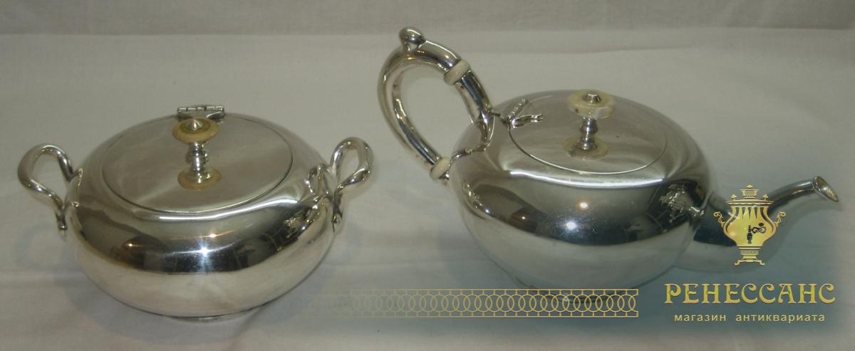 Самовар угольный «груша» на 8,5 литров, с набором, серебрение, «Н.И. Баташевъ» №532