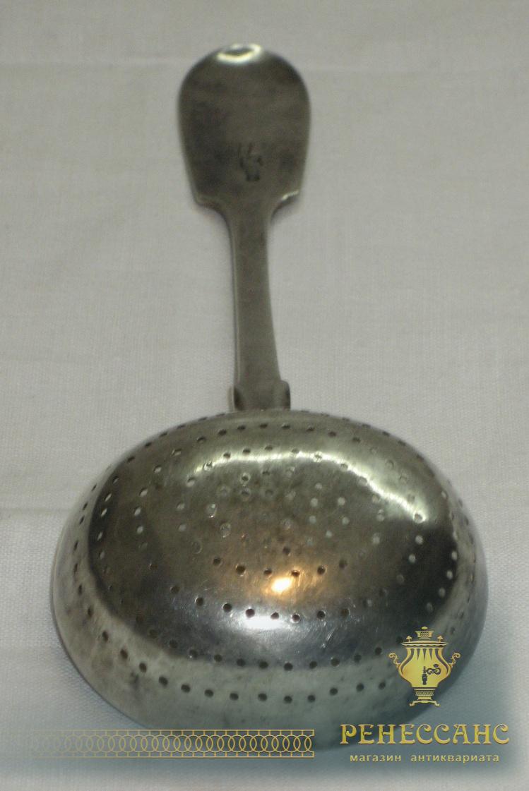 Ситечко старинное, серебро 84 пробы, Россия 19 век №1745