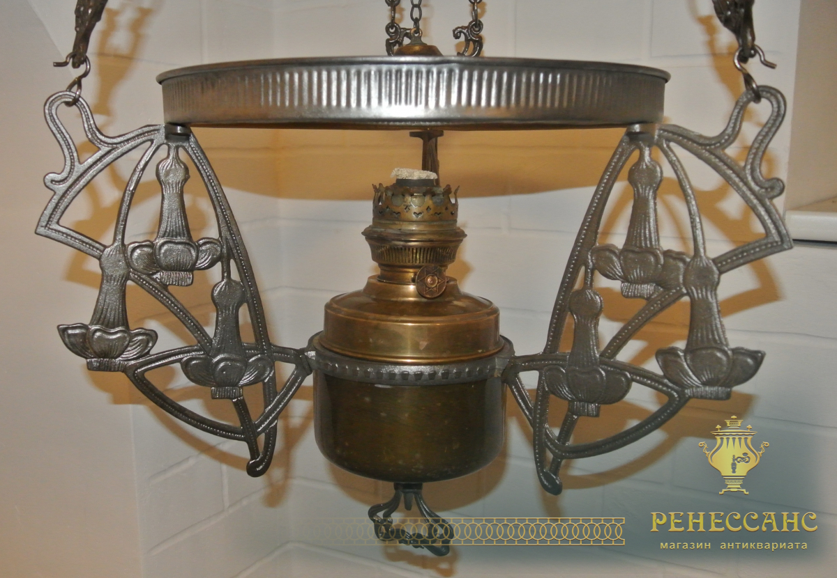 Керосиновая лампа, люстра, чугунная, модерн №1747