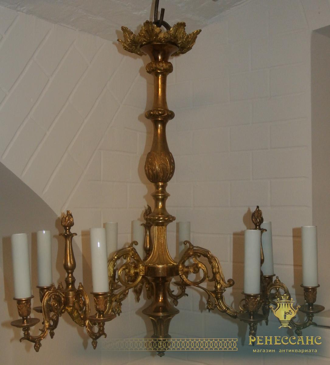 Люстра старинная бронзовая на 9 лампочек, очень тяжелая, красивая №1748