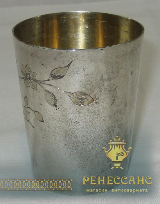 Стакан, стопка, серебро 84 пробы, золочение №1799