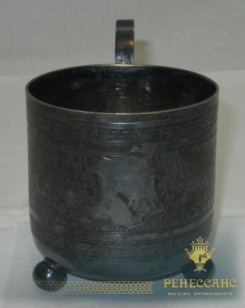 Подстаканник старинный, серебрение, патина, цезалировка, «Norblin» Варшава 19 век №1804