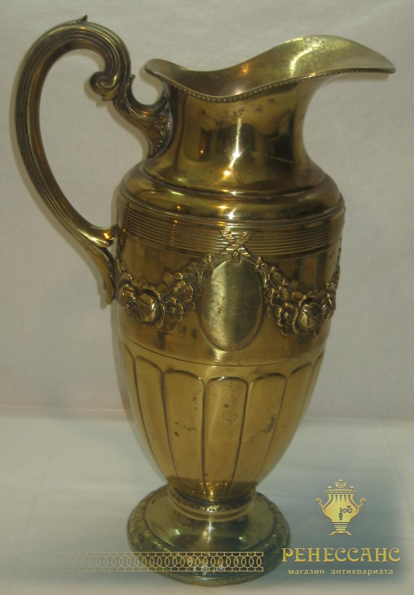 Кувшин старинный, ваза красивая, латунь, большая, Европа 20 век №1840