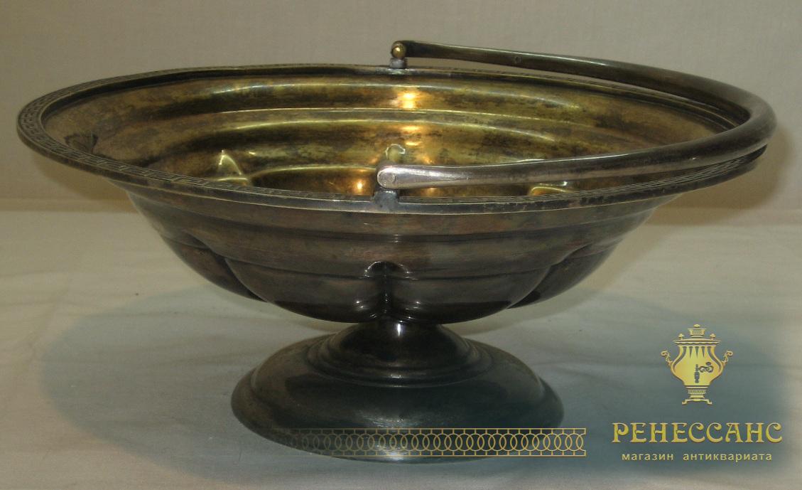 Фруктовница, сухарница, вазочка, серебрение, «Fraget» Варшава 19 век №1875