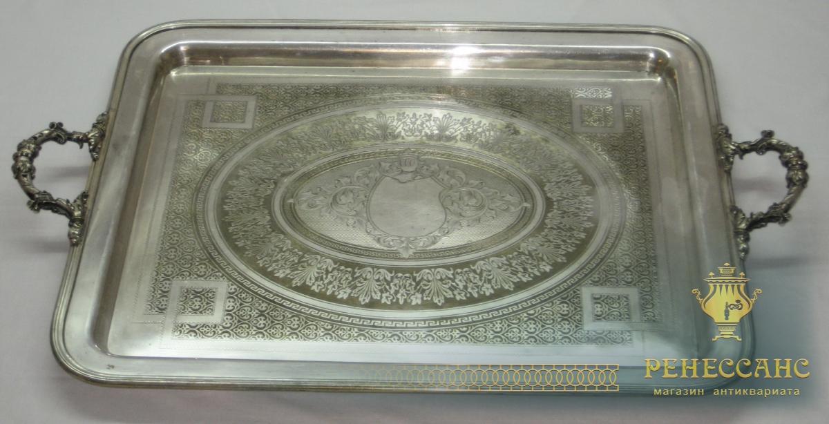 Большой поднос с ручками Norblin Варшава, серебрение 19 век №1195