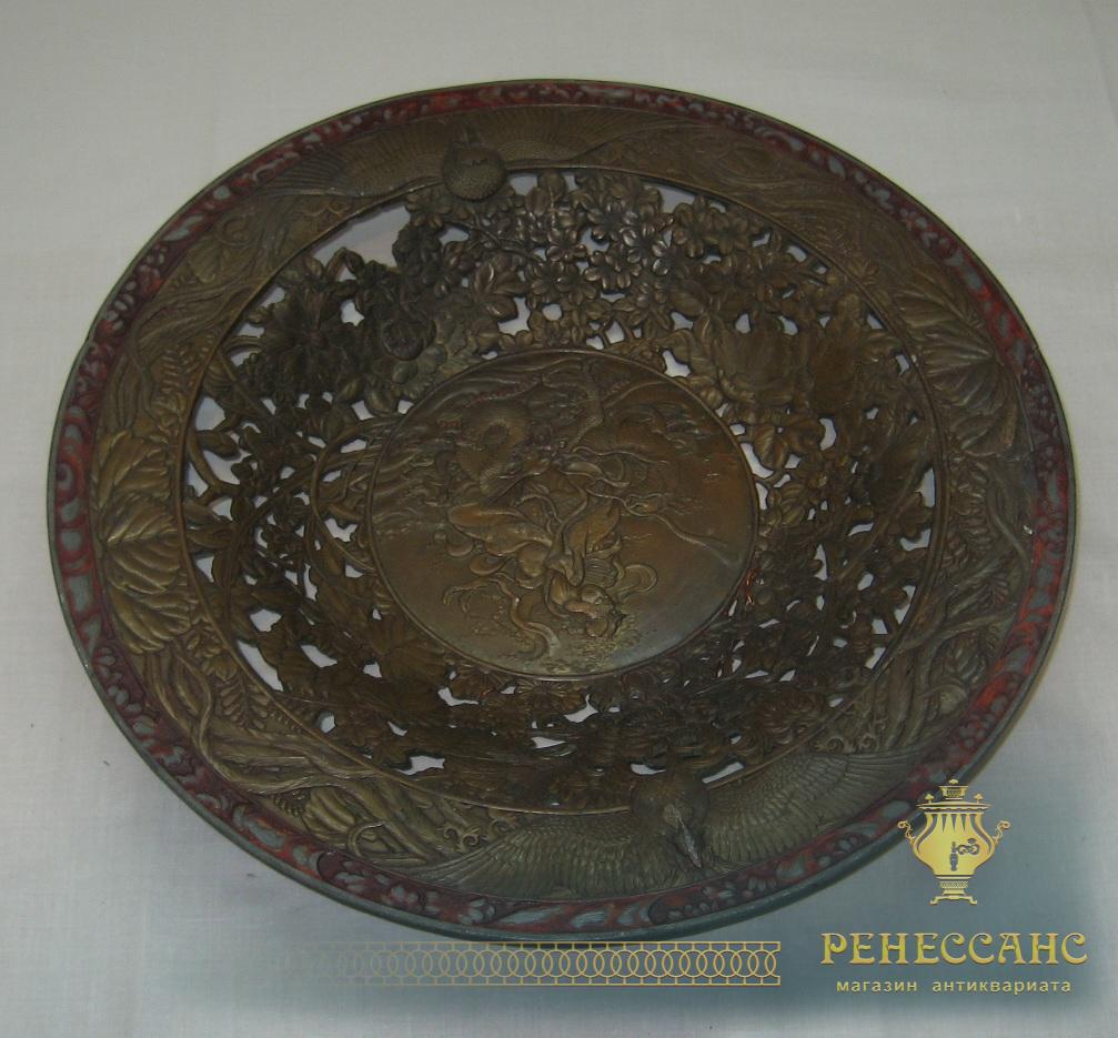 Тарелка старинная, панно настенное, шпиатр, 19 век №1850