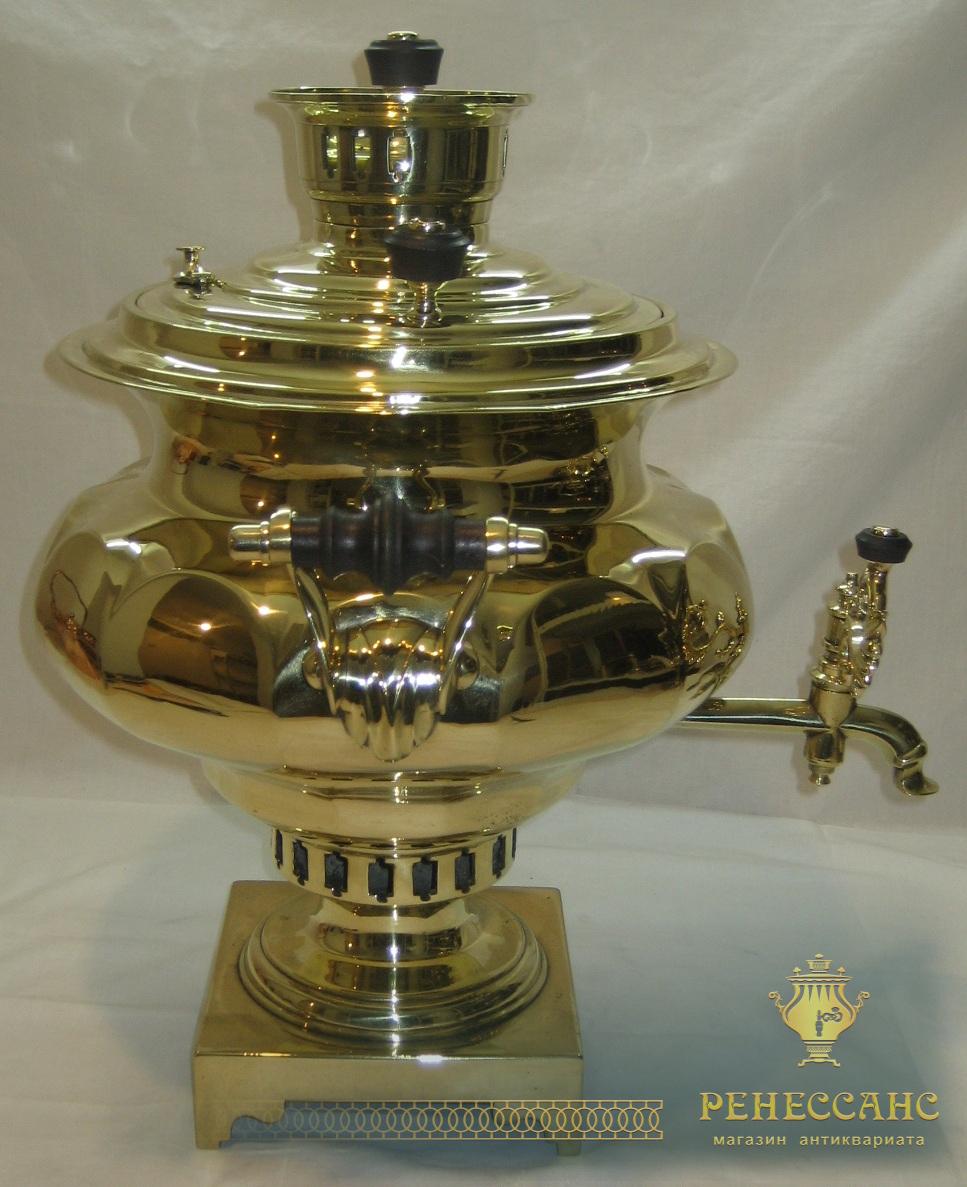 Самовар старинный угольный «репка», в комплекте, объем 7 литров, «Баташевы» 19 век №571