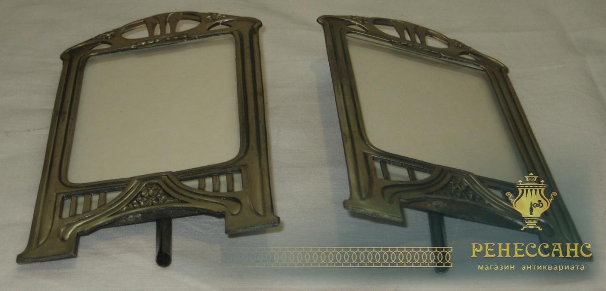 Рамки для фотографий, парные, никелировка, модерн №1927