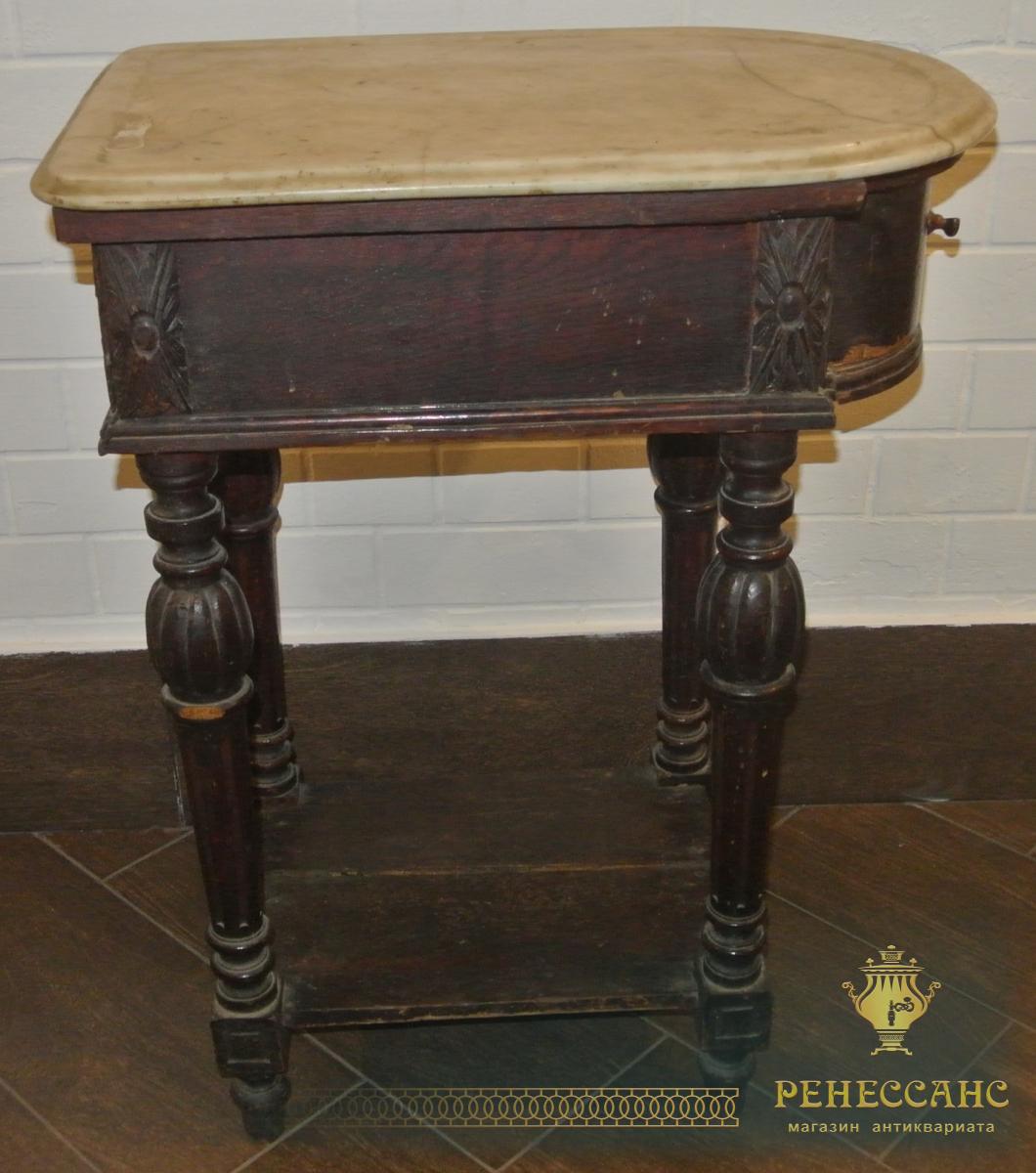 Стол старинный, столик под самовар, дуб, мрамор, Россия 19 век, без реставрации №1989