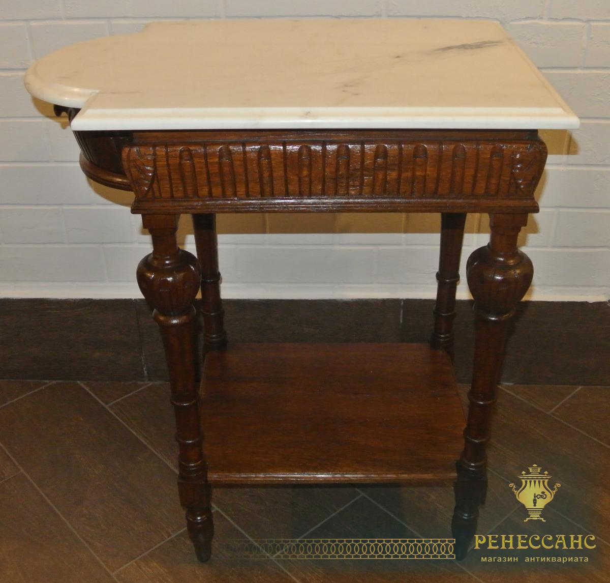 Самоварный столик, стол старинный, дуб, мрамор, Россия 19 век №1990