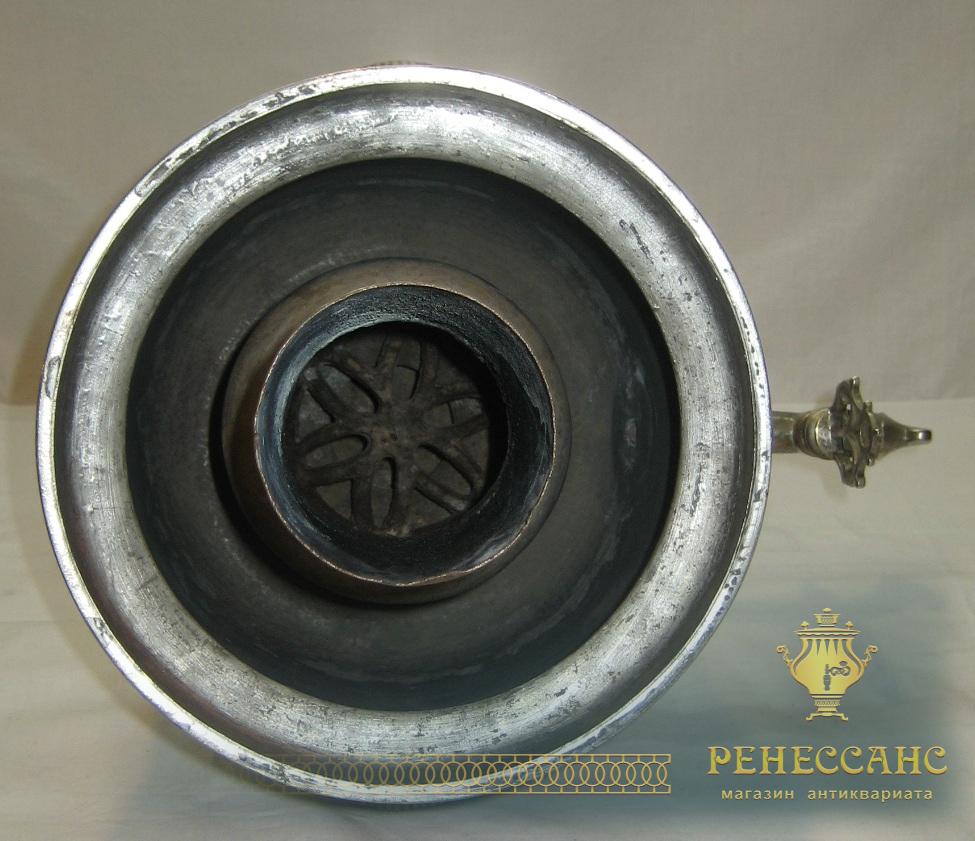 Самовар угольный старинный «банка», никелировка, на 4 литра, редкий мастер «Бр. Лялиныхъ» №588
