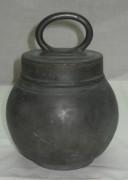 Баночка с крышкой оловянная старинная на 1 литр №1262