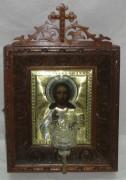 Икона в киоте «Господь Вседержитель» серебро 84 пробы 19 век №1102