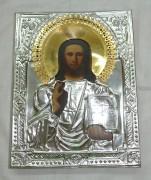 Икона «Господь Вседержитель» серебрение 19 век №935