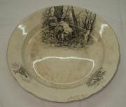 Блюдо «Охота», тарелка большая, фаянс, «Мальцов» №2010